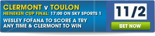 View our full range of Clermont v Toulon betting