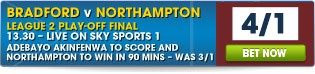 View our full range of Bradford v Northampton betting