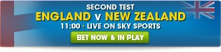 England v New Zealand Second Test - Click here for all betting