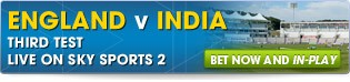 View our full range of England v India betting