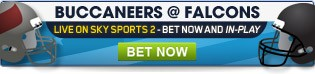Bet in-play now as the Buccaneers take on the Falcons