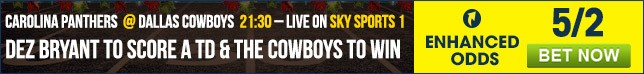 Bet now on our Carolina Panthers @ Dallas Cowboys Enhanced Odds