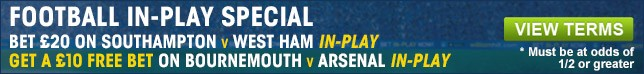 Bet now on our Bet 20 Get 10 special on selected television matches