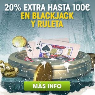 ¡20% Extra en Ruleta y Blackjack esta Navidad!