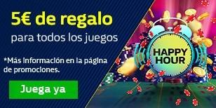 5€ gratis para jugar a nuestros juegos durante las Happy Hours.