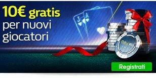 Ricevi 10€ Bonus di gioco alla registrazione