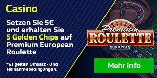 5 Golden Chips auf Premium European Roulette