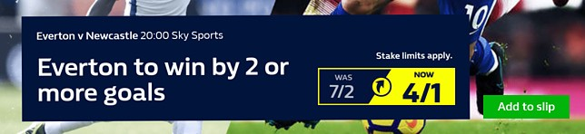 Everton to win by 2 or more goals