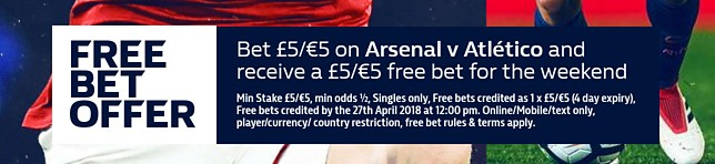 View all Arsenal v Atletico Madrid betting