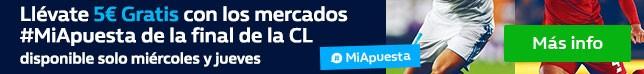 Haz una apuesta de 5€ o más prepartido a cualquier mercado de #MiApuesta del Real Madrid - Liverpool y consigue 5€ Gratis