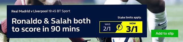 Real Madrid v Liverpool - Ronaldo & Salah both to score in 90 mins
