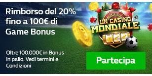 Rimborso del 20% fino a 100€ di Game Bonus!