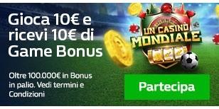 Gioca 10€ e ricevi 10€ di Game Bonus!