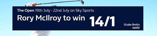 The Open - Rory McIlroy to win