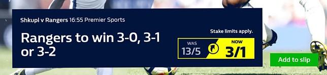 Shkupi v Rangers - Rangers to win 3-0, 3-1 or 3-2