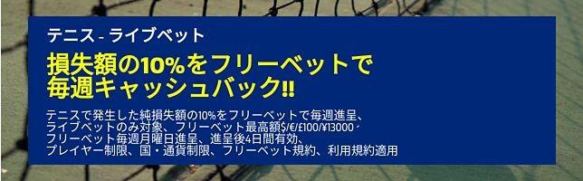 ライブベット損失額の10%を毎週キャッシュバック!!